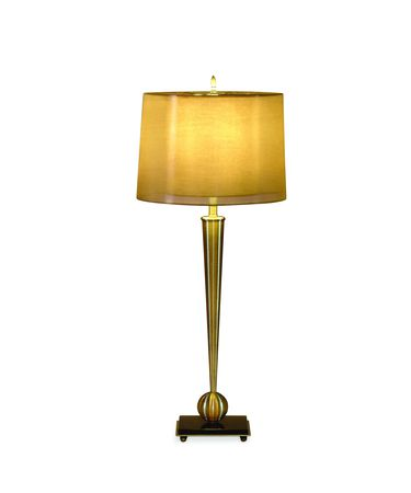 Shown in Antique Brass Finish finish and Fabric shade