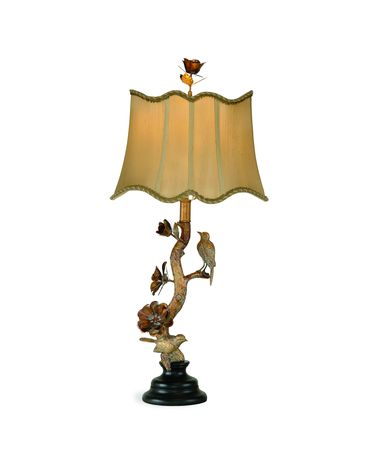 Shown in Antique Gold finish and Fabric shade
