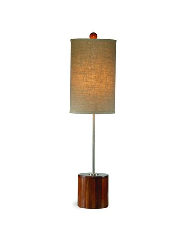 Shown in Chrome and Dark Bamboo finish and Fabric shade