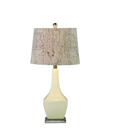 Shown in Crackled Almond Ceramic finish and Fabric shade