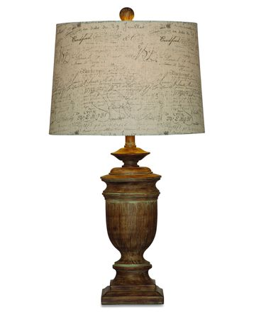 Shown in Aged Bronze finish and Fabric shade