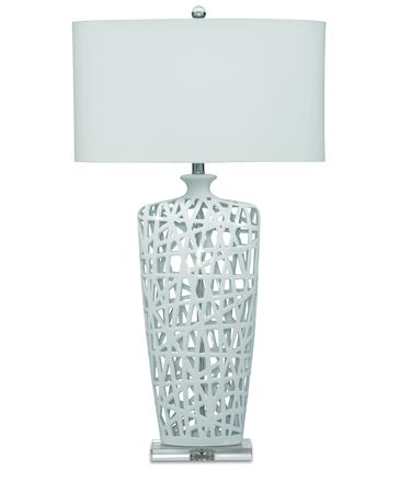 Shown in Gloss White Ceramic finish and Fabric shade