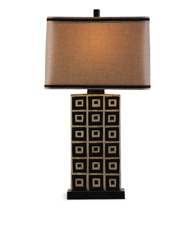 Shown in Black and Tan Ceramic finish and Fabric shade