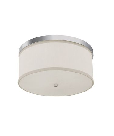 Shown in Polished Nickel finish, Frosted Diffuser With Finial glass and White Fabric shade