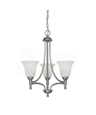 Shown in Matte Nickel finish and White Faux Alabaster glass