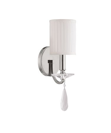 Shown in Polished Nickel finish, Clear crystal and Faux White Alabaster shade