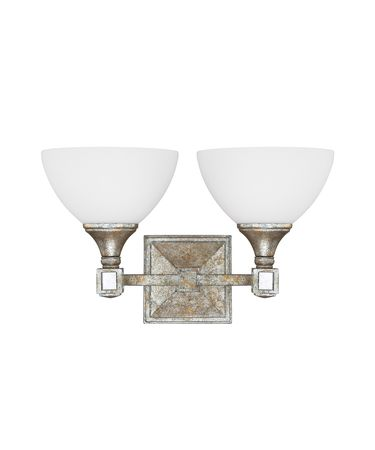 Shown in Silver and Gold Leaf with Antique Mirrors finish and Soft White glass