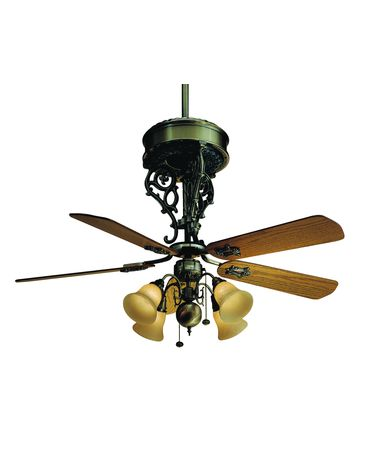 Shown in Antique Brass finish with Optional Antique Oak blades and Optional Light Kit