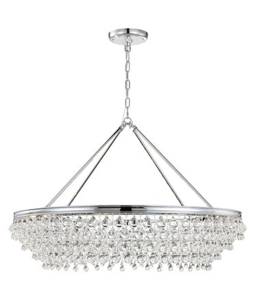Shown in Polished Chrome finish and Clear Glass Drops crystal