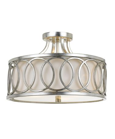 Shown in Antique Silver finish and White Linen shade