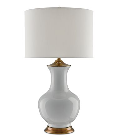 Shown in White-Antique Brass finish and Off White Shantung shade