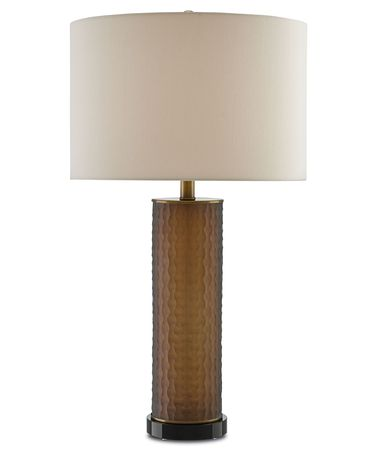 Shown in Charcoal Brown-Antique Brass-Black finish and Tan Sand Linen shade