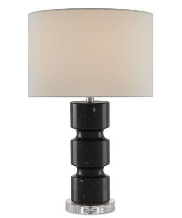 Shown in Black-Clear finish and White Linen shade