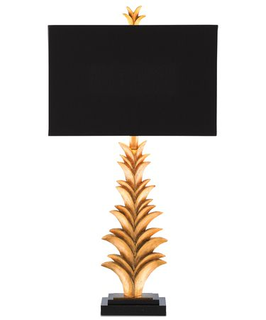 Shown in Antique Gold Leaf-Black finish and Black Shantung shade