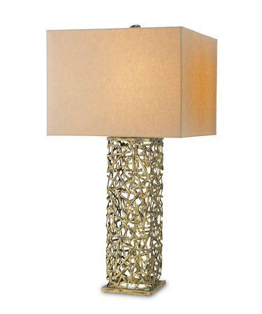 Shown in Hand Rubbed Gold Leaf finish and Off White Linen shade