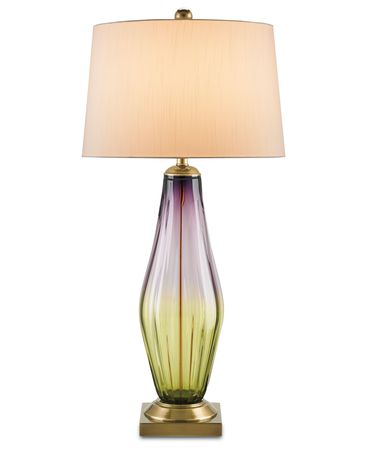 Shown in Lavender-Light Green-Copper finish and Eggshell Shantung shade
