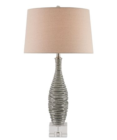 Shown in Gray-Clear-Brushed Nickel finish and Flax Linen shade