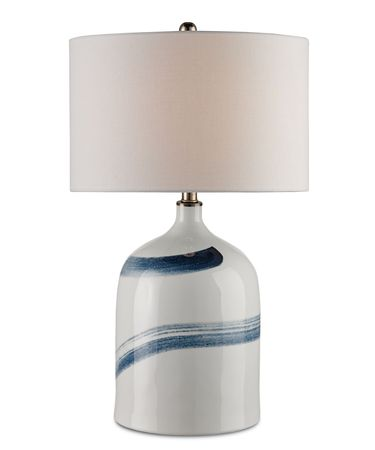 Shown in Bone White-Blue finish and Off White Linen shade