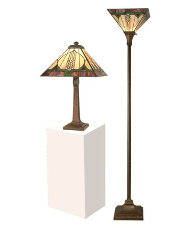 Shown in Antique Brown finish and Hand Rolled Art Glass shade