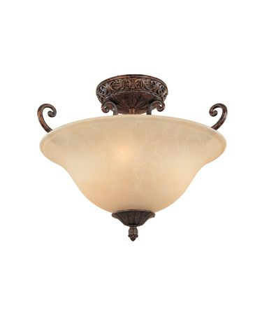 Shown in Burnt Umber finish and Antique Harvest Beige glass