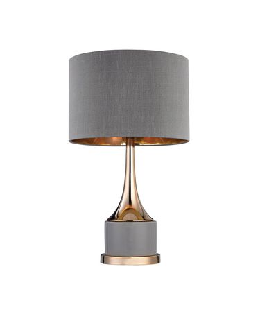 Shown in Gold finish, Grey Faux Silk shade and Grey accent