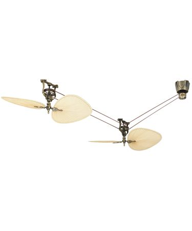 Assembly shown in Antique Brass finish. Also shown Brewmaster Motor (FP1280) in Antique Brass and Natural Palm Leaf Blades (ISP1)