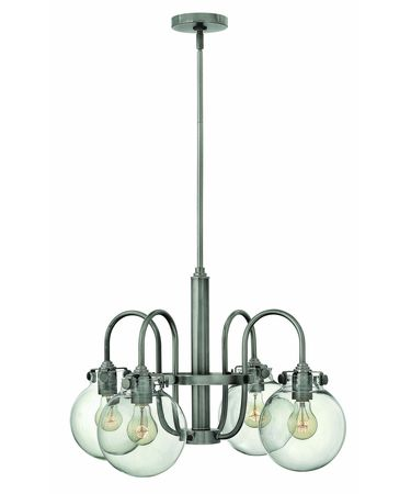 Shown in Antique Nickel finish and Hand Blown Clear glass