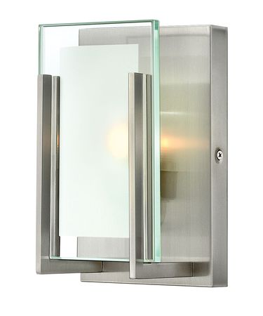 Shown in Brushed Nickel finish and Clear Beveled Inside-Etched glass