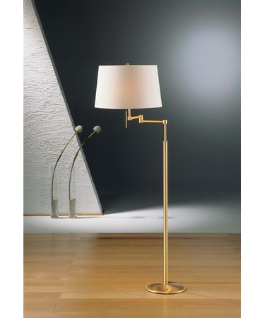 Shown in Brushed Brass finish and Satin White shade