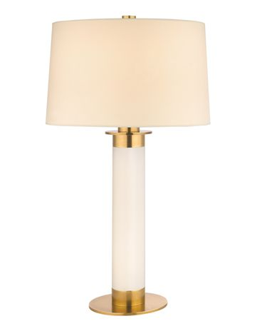 Shown in Aged Brass finish, Mouth Blown Opal glass and Eco Paper shade