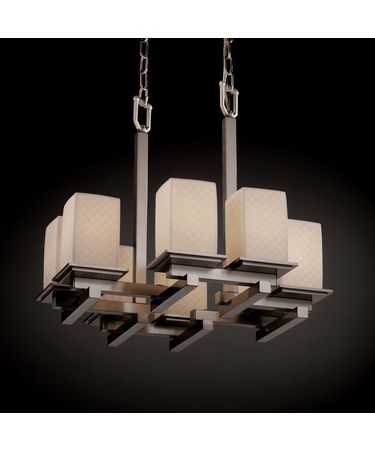 Shown in Brushed Nickel finish, Checkerboard glass and Square with Flat Rim (POR) shade