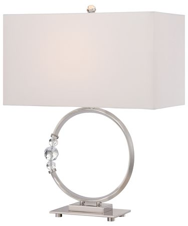 Shown in Polished Nickel finish and Pure White Linen shade