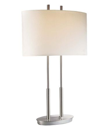 Shown in Brushed Nickel finish and White Linen shade