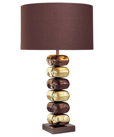 Shown in Chocolate Chrome with Brass finish and Brown Fabric shade