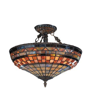 Shown in Classic Bronze finish and Tiffany Style glass