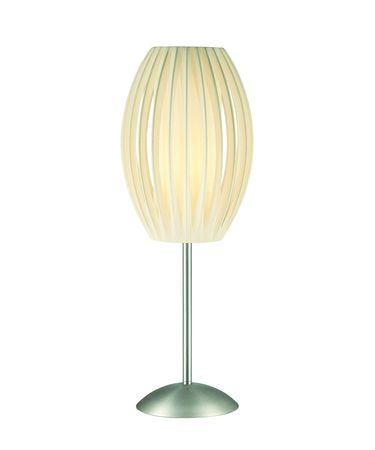 Shown in Satin Steel finish and White Pleated shade
