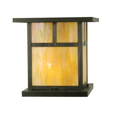 Shown in Craftsman Brown finish and Iridized Beige glass