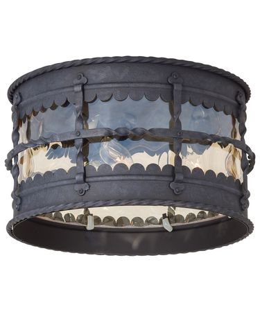 Shown in Spanish Iron finish and Champagne Hammered glass