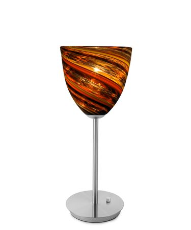 Shown in Satin Nickel finish and Spirale Orange glass