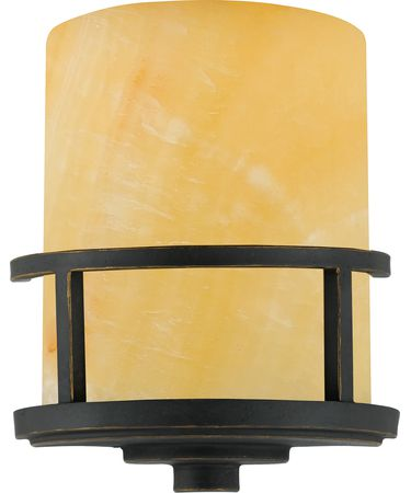 Shown in Imperial Bronze finish and Butterscotch Marble glass