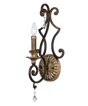 Shown in Heirloom finish, Crystal Drops crystal and Mottled Amber Scavo glass