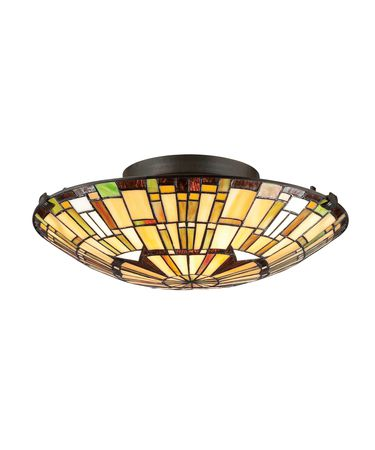 Shown in Vintage Bronze finish and Multicolor glass