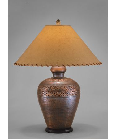 Remington Lamp 2377 Table Lamp In Hammered Brass Antique