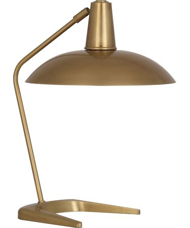 Shown in Antique Brass finish and Metal shade