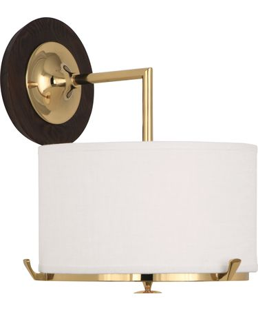 Shown in Polished Brass finish and Cream Linen shade