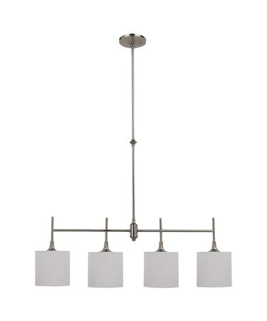 Shown in Brushed Nickel finish, Satin Etched glass and White Linen Fabric shade