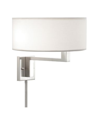 Shown in Satin Nickel finish and Off White Linen shade