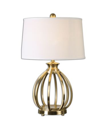 Shown in Brushed Brass finish and Round tapered hardback shade