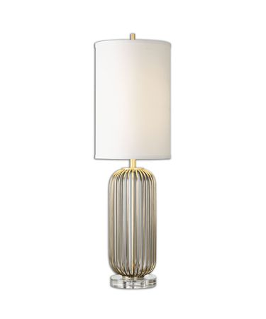 Shown in Antique Gold finish and White Linen Fabric shade