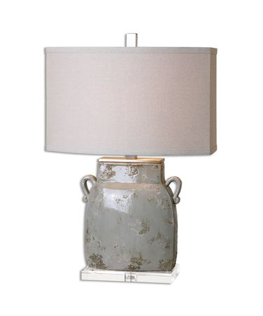 Shown in Brushed Aluminum finish, Light Beige shade and Ivory-gray Glaze with Dark Gray accent